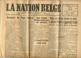 JOURNAL - LA NATION BELGE - 24 JUILLET 1945 - LA MORT DE PAUL VALERY + L AFFAIRE POULET - Kranten