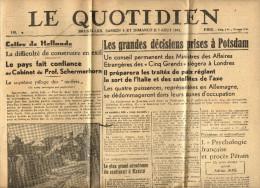 JOURNAL - LE QUOTIDIEN  - BRUXELLES - 4 AOUT 1945  + SON MANCHON AVEC TIMBRE 5 C - Kranten
