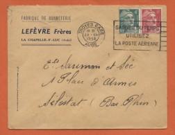 Troyes Gare Aube 28.XII.1948 Entête: Fabrique De Bonneterie LEFÈVE Frères La Chapelle St. Luc - Marcophilie (Lettres)