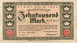 BILLETE DE ALEMANIA DE 10000 MARK DEL AÑO 1923 (BANKNOTE) STADT KÖLN - [ 3] 1918-1933 : República De Weimar