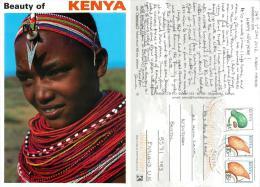 Samburu Girl, Kenya Postcard Used Posted To UK 2012 Nice Stamp - Kenya