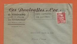 """Cholet 12..8.48  Entête: Les Pantoufles """"Coc"""" C.Cochard La Tessoualle - Oblitérations Mécaniques (flammes)"""