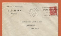 Troyes Gare 13.X.1919 Aube Entête: Fabrique De Bonneterie Ets. S.Rozen - Marcophilie (Lettres)
