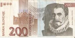 BILLETE DE ESLOVENIA DE 200 TOLARJEV DEL AÑO 2001 SERIE RE  (BANKNOTE) - Eslovenia