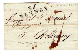 Lettre Sans Correspondance De Rennes  Pour Bordeaux ( Datée Du 3 Fevrier 1812)