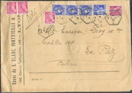 TB Affranchissement PAIX-IRIS à 8Fr.50 Obl. Hexagonale De LYON Sur Lettre Recommandée Du 3-11-1939 Vers La PAZ (Bolivie) - 1932-39 Peace