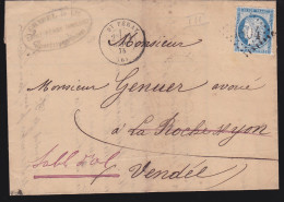 France - Lettre N° 60 Obl 1875 - Cachets: GC 3804 / Saint Péray  / Marseille A Paris A / Les Sables D'olonne - 1849-1876: Classic Period