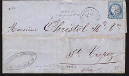 France - Lettre N° 60 Obl 1873 - Cachets: GC 6325 / Marseille Cours Du Chapitre / Saint Tropez - Postmark Collection (Covers)