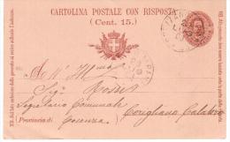 1903 Regno - Cartolina Postale 15 C. Con Risposta Da Spezzano Albanese A Corigliano Calabro - Interi Postali