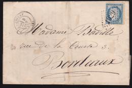 France - Lettre N° 60 Obl 1875 - Cachets: GC 1029 / La Ciotat / Marseille A Lyon F / Bordeaux - Postmark Collection (Covers)
