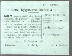 Bon Au Porteur - Dette Egyptienne Unifiée 4 % - C.I.C. 1-11-1932 - Coupon Réglé Par Le Crédit Lyonnais Paris - Shareholdings