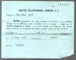 Bon Au Porteur - Dette Egyptienne Unifiée 4 % - C.I.C. 1-11-1935 - Coupon Réglé Par Le Crédit Lyonnais Paris - Shareholdings