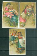 """Lot 3 Chromos """"scène Enfantine """" Distribué  Par AugTE Lubineau  à  Amboise  ( 1 Chromos Est Recollé) - Chroo01 - Chromos"""