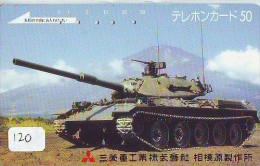 Télécarte JAPON * WAR TANK (120)  MILITAIRY LEGER ARMEE PANZER Char De Guerre * KRIEG * Phonecard Japan Army * - Armee