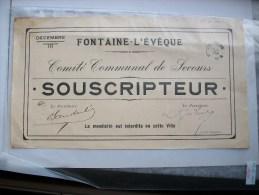 Ma Réf: 69-16-1007.            FONTAINE-L'EVEQUE     Comité Communal De Secours - Documents