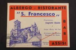 Albergo Ristorante S. Francisco - Assisi, Italy - Original Luggage Hotel Label - Sticker - Hotel Labels
