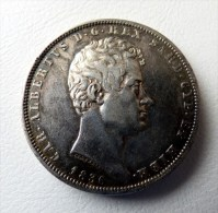 5 LIRE 1836 CARLO ALBERTO   ITALIA - ARGENT - SILVER. POIDS 25 GR QUALITE - Monnaies Régionales