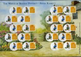 GREAT BRITAIN - 2008  BEATRIX POTTER  GENERIC SMILERS SHEET   PERFECT CONDITION - Fogli Completi