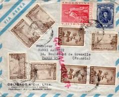ARGENTINE - ARGENTINA- ENVELOPPE VIA AEREA- OBLIGADO & CIA- AGENCIA DE PATENTES Y MARCAS PARAGUAY-BUENOS AIRES- MAUSSET - Argentine