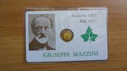 SCHEDA CON PICCOLA MEDAGLIA DI GIUSEPPE MAZZINI - PROTEGE VIRGO MARIE - NEL RETRO SAVONA CIVITATE - - Italy