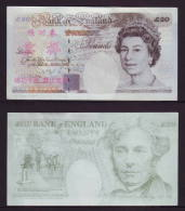(Replica)China BOC Bank Training/test Banknote,United Kingdom Great Britain B-1 Series 20 POUND Specimen Overprint,used - [ 8] Fakes & Specimens