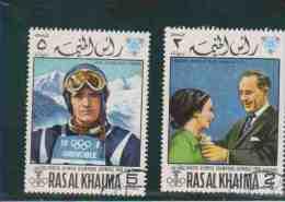 RAS AL KHAIMA.  (Y&T)  1968  -  N°44.  *  * Vainqueurs Aux J.O De Grenoble  *2r /5r *  Obl - Arabie Saoudite