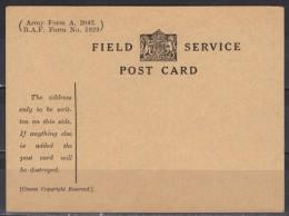 Grande-Bretagne Service Field Service Post Card R.A.F. Form N° 1929 - Officials