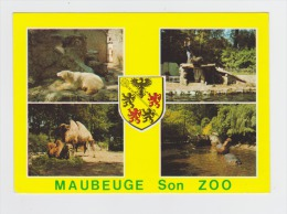 CPM - 59 - NORD - MAUBEUGE - LE ZOO - Otarie Hippopotame Ours Blanc Chameau - écusson Lion - Hippopotamuses