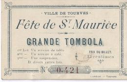 VILLE DE TOURVES-GRANDE TOMBOLA- -FETE DE ST MAURICE - Vieux Papiers