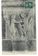 -8-VEZELAY--EGLISE DE LA MADELEINE--7e PILLIER--LA LUTTE D UN ANGE AVEC JACOB--ECRITE ET AFFR 7 AOUT 1909-- - Vezelay