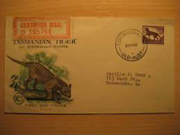 Toowoomba 1962 Tasmania Tiger Certified Mail Label Fdc Australie Australia - Primo Giorno D'emissione (FDC)