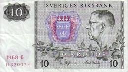SUEDE  10 KRONOR  Rmission De 1968   Pick 52 B           ***** QUALITE  XF - ***** - Suède