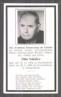 Faire-part De Décès Otto Schäfer, Geboren 1906 In Dundenheim, Gestorben 1969 Im Krankenhaus Zu Gengenbach, Avec Lic - Documents
