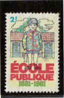 """Vignette """"Ecole Publique, 1881- 1981, 2 F"""". Illustration Jeune Enfant - Commemorative Labels"""