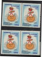 4 Vignettes Jeunesse Au Plein Air 1963 - 0.20f - Commemorative Labels