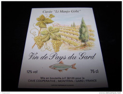 Etiquette Vin Theme Peche Poisson Fish Wine Label Fishing Pecheur Li Manjo Gobi 30490 Montfrin - Poissons