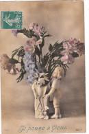 Carte Postale Ancienne Fantaisie - Fleurs - Je Pense à Vous - Fantaisies