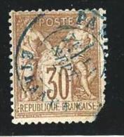 "YT 69 "" Sage 30c. Brun "" 1876-78 Cachet Bleu PARIS-ETRANGER - 1876-1878 Sage (Type I)"