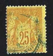 "YT 92 "" Sage 25c. Bistre S. Jaune "" 1877-80 Cachet Bleu Paris Etranger - 1876-1898 Sage (Type II)"