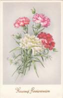 Carte Postale Ancienne Fantaisie - Fleurs - Oeillets - Heureux Anniversaire - Fantaisies