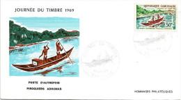 Gabon 1969 Libreville Canoe Post Postal Delivery FDC Cover - Gabon (1960-...)