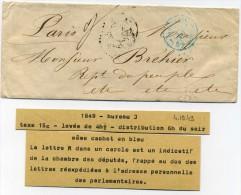 Lettre De Paris  Chambre Des Deputés   Avec  Cachet  Bleu  J + Taxe 15c  + Grand  M  Dans Cercle - Marcophilie (Lettres)