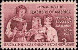1957 USA National Education Association Centenary Stamp Sc#1093 Teacher Globe Student Boy Girl Book - Jobs