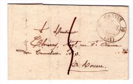 """LAC De Carvin Pour Rouen- 1832- Cachet 1/2 Fleuron  """" 61 CARVIN """" 3 Scan"""