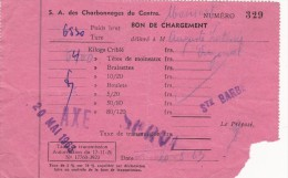 S.A. Des Charbonnages Du Centre (site De Ste Barbe) (bon De Chargement)  Le 20 Mai 1963 - Collections