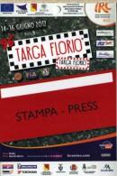 PASS STAMPA PRESS  RALLY TARGA FLORIO IRC SERIES 2012   NUOVO - Corse Di Auto