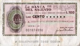 Cartamoneta 100 LIRE BANCA DEL SALENTO 1977 (Consorzio Artigiani Provincia Di Lecce) - G26 - [10] Assegni E Miniassegni