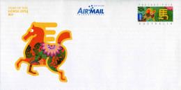 """Entier Postal D´Australie De 2014 Sur Enveloppe Avec Timbre Et Illustration """"Année Du Cheval"""" - Chines. Neujahr"""