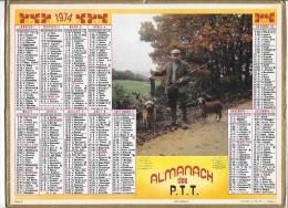 CALENDRIER - ALMANACH DES POSTES ET DES TELEGRAPHES - ANNEE 1974 - Chasseur - Calendars