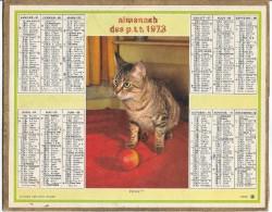 CALENDRIER - ALMANACH DES POSTES ET DES TELEGRAPHES - CHAT - ANNEE 1973 - Département De SEINE ET MARNE - Calendars